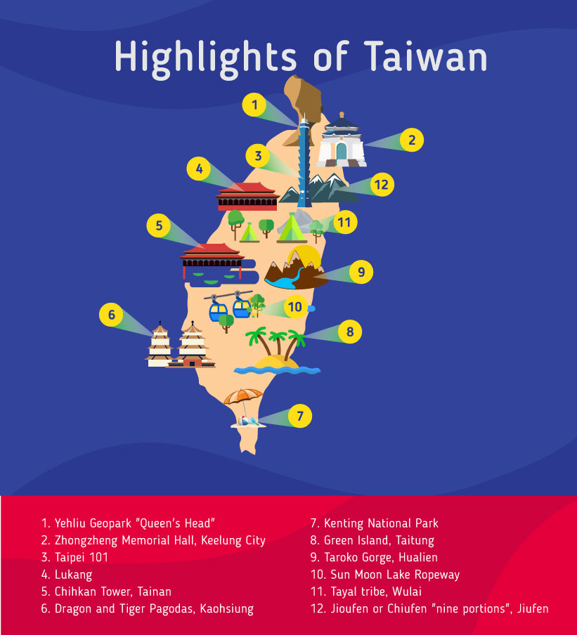 Places to go to in the Taiwan, Map of Taiwan