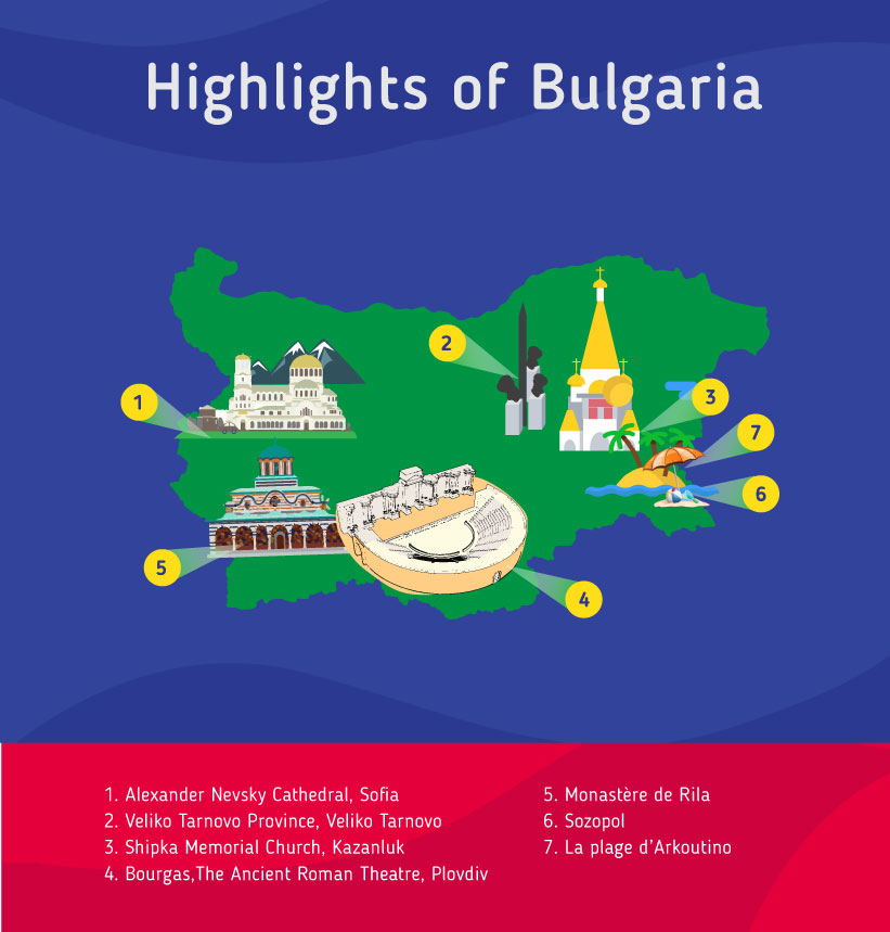 Places to go to in the Bulgaria, Map of Bulgaria